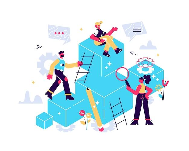 Processo competitivo em ilustração empresarial