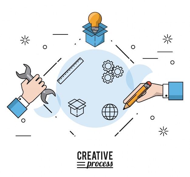 Processo criativo com silhuetas de mãos com chave