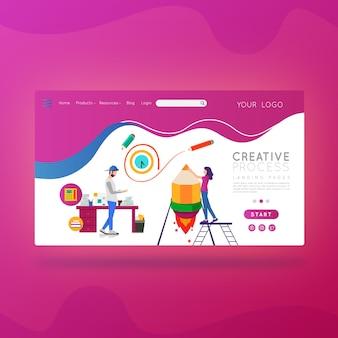 Processo criativo da página de destino