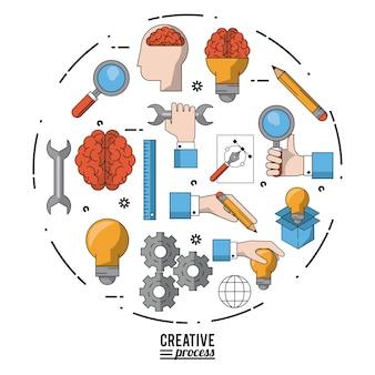 Processo criativo de cartazes coloridos com conjunto de ícones