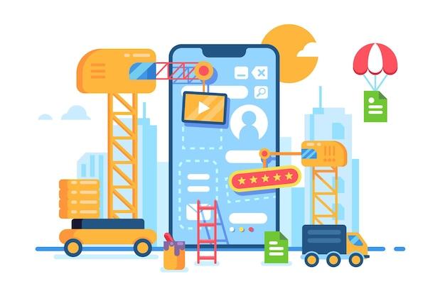 Processo criativo de desenvolvimento de construção de aplicativo móvel