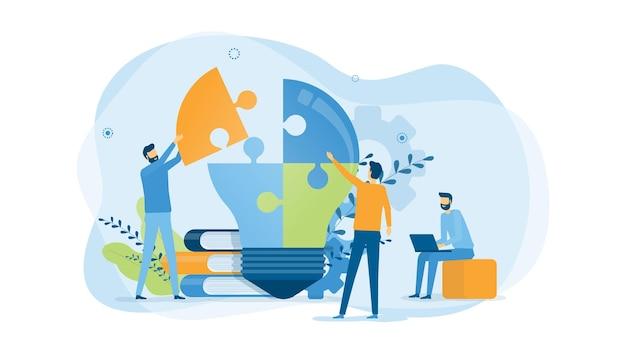 Processo criativo de negócios e reunião da equipe de negócios para brainstorming Vetor Premium