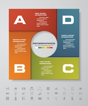 Processo de 4 etapas. elemento de design abstrato simples e editável. vetor.