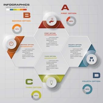 Processo de 4 etapas. elemento de design abstrato simples e editável.