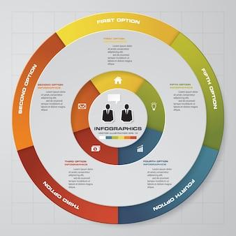 Processo de 5 etapas. elemento de design abstrato simples e editável. vetor.