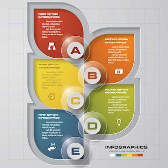 Processo de 5 etapas. elemento de design abstrato simples e editável.