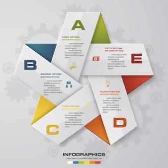 Processo de 5 etapas. elemento de design de estrela simples e editável.