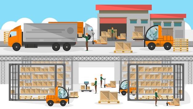 Processo de carregamento no banner do armazém