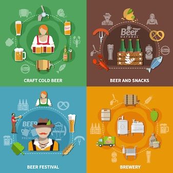 Processo de cervejaria do festival de cerveja e diferentes lanches 2x2 ícones isolados em colorido