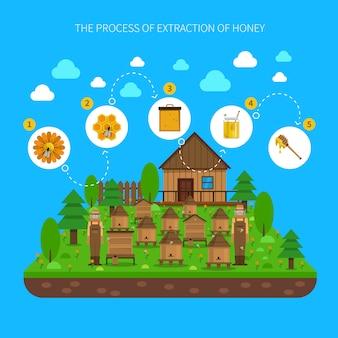 Processo de conceito de extração de mel