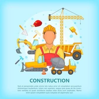 Processo de construção conceito erector, estilo cartoon