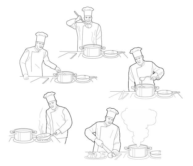 Processo de cozimento com figuras de chef na mesa em ilustração vetorial de interiores de cozinha de restaurante