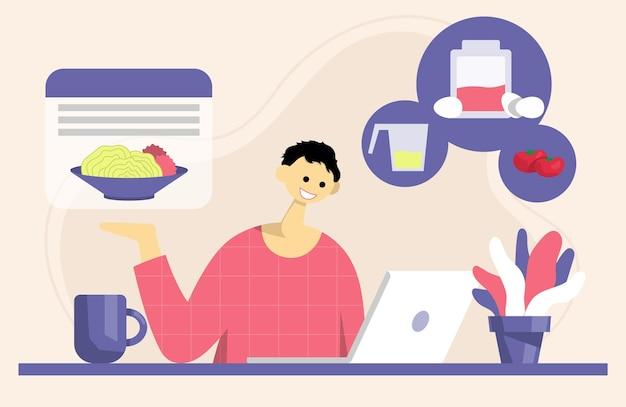 Processo de cozimento com o chef à mesa no interior da cozinha. conceito para blogueiro de culinária