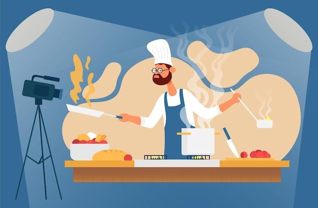 Processo de cozimento com o chef, a mesa no interior da cozinha, ilustração vetorial gravação de vídeo online