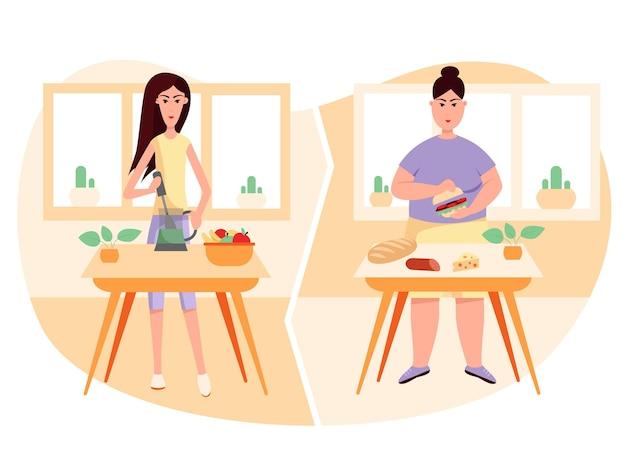 Processo de cozimento na cozinha com mulheres magras e gordas estilo de vida saudável e pouco saudável excesso de peso