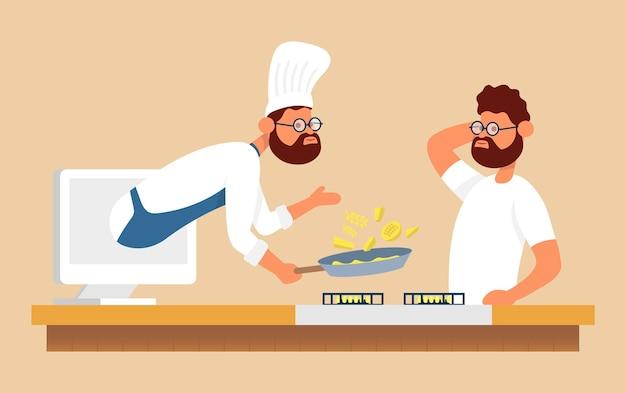 Processo de cozimento online com chef da laptom assistindo uma receita de pratos no laptop na internet