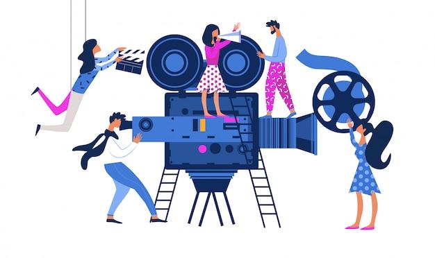 Processo de criação de filme com o operador usando a câmera