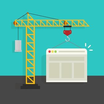 Processo de criação de site ou página da web em desenvolvimento com cartoon plana de guindaste