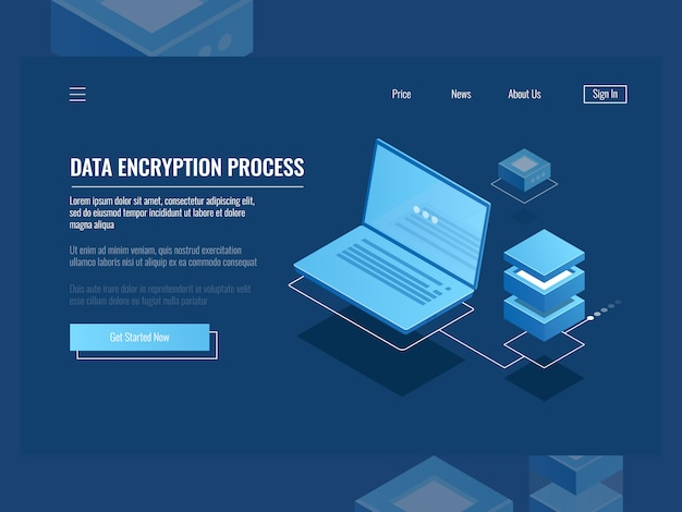 Processo de criptografia de dados, proteção de informações digitais, sala de servidores, armazenamento em nuvem