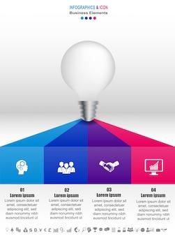 Processo de cronograma de negócios infográfico e modelo de ícones. design com lâmpada, marketing idae.