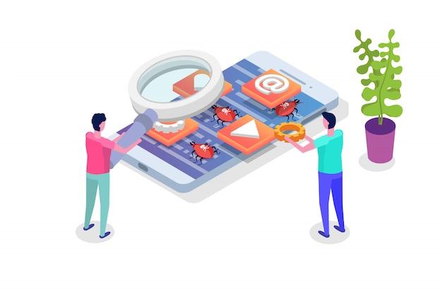Processo de desenvolvimento de aplicativos móveis, testes e prototipagem isométrico. construção da interface do aplicativo.