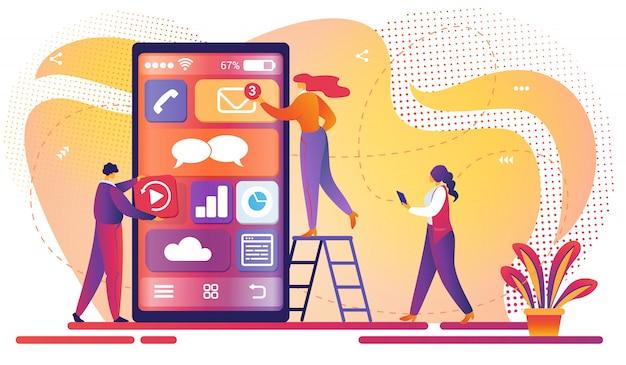 Processo de desenvolvimento de aplicativos móveis. trabalho em equipe.