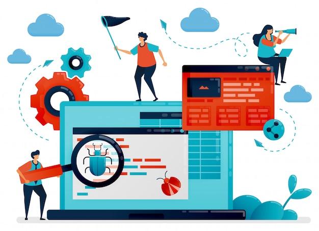 Processo de desenvolvimento de aplicativos para teste e depuração. software antivírus para detectar bugs.