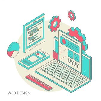 Processo de desenvolvimento de design de sites para dispositivos móveis e computadores