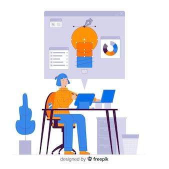 Processo de design da página de destino do conceito