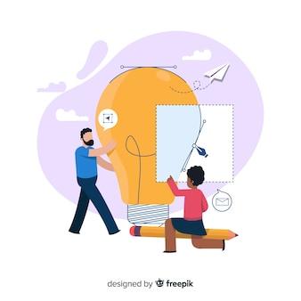 Processo de design de conceito para a página de destino