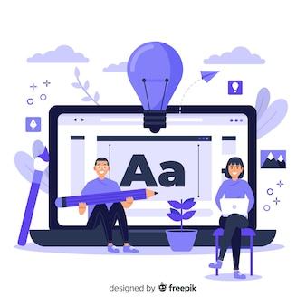 Processo de design do conceito da página de destino