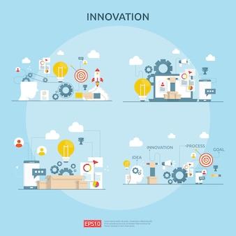 Processo de idéia de inovação de brainstorming e conceito de pensamento criativo com lâmpada de lâmpada para iniciar o projeto de negócios. ilustração para web landing page banner, apresentação, mídia social, impressão