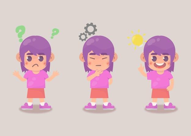 Processo de ideia de pesquisa de garota feliz e fofa Vetor Premium