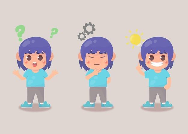Processo de ideia de pesquisa de garota feliz e fofa