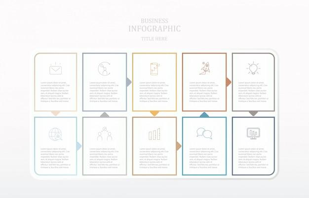 Processo de infográficos de papel colorido e ícones.