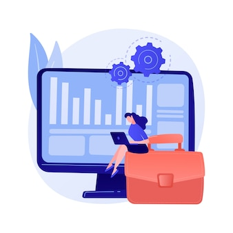 Processo de inventário. operação financeira. relatórios fiscais, software de gestão, programa empresarial. mulher fazendo contabilidade e auditoria de personagem de desenho animado.