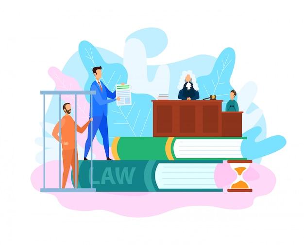 Processo de julgamento de tribunal, ilustração de julgamento