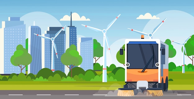 Processo de limpeza da máquina de caminhão vassoura de rua veículo industrial conceito de serviço rodoviário urbano tubines de vento moderno cityscape fundo horizontal plano
