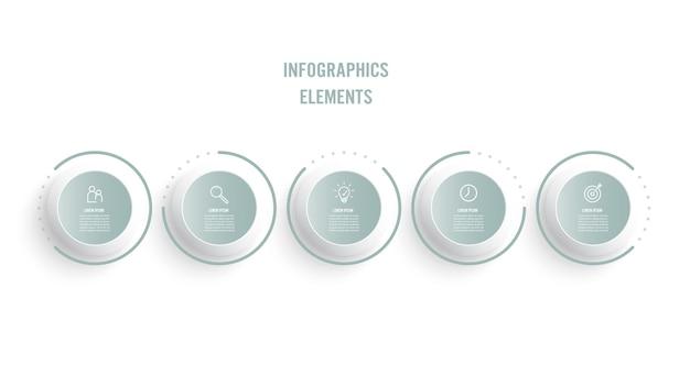 Processo de linha fina de infográfico de negócios com design de modelo de círculos com ícones e opções ou etapas.