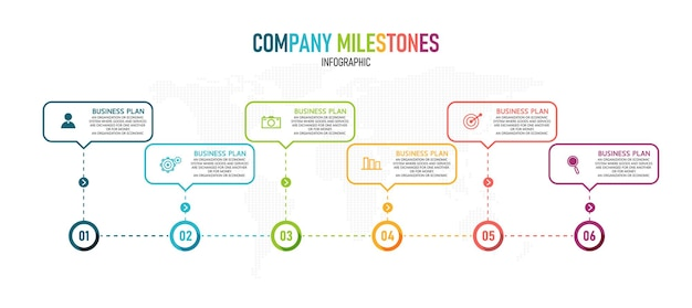 Processo de linha fina de infográfico de negócios com design de modelo quadrado. ilustração.