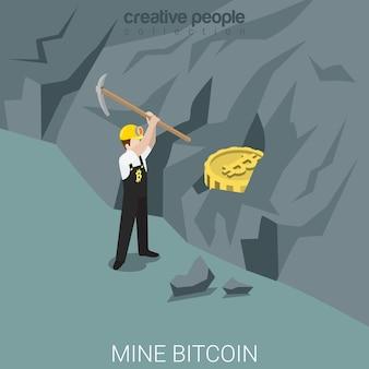 Processo de mina de minerador de bitcoin isométrico plano