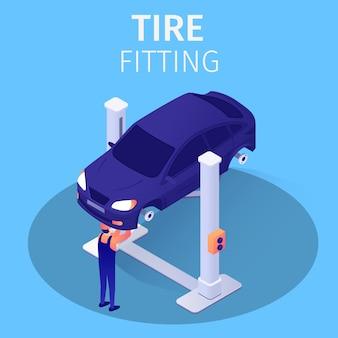 Processo de montagem de pneus no serviço de reparação automóvel