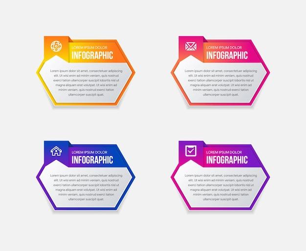 Processo de negócios com variações de cor gradiente linha do tempo com 4 opções de forma de hexágonos horizontais para o local do layout principal para o texto