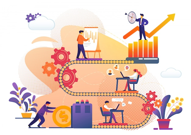 Processo de negócios da metáfora de realização de sucesso.