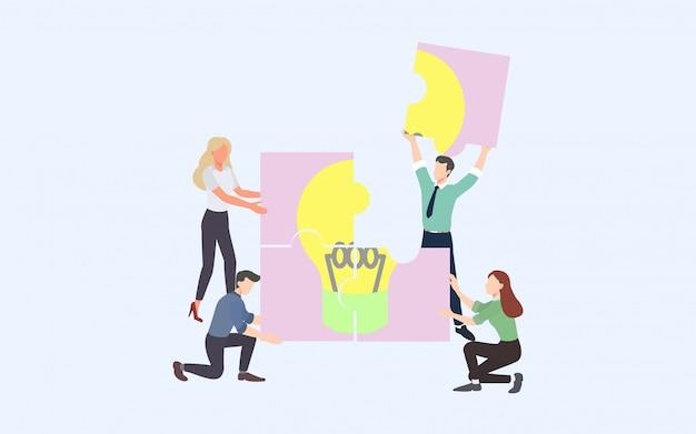 Processo de negócios de brainstorming criativo e conceito de estratégia de negócios