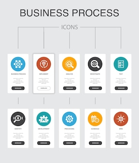 Processo de negócios infográfico 10 etapas ui design.implement, analyse, development, processing simple icons