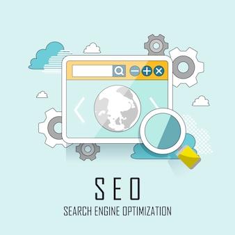 Processo de otimização de mecanismo de busca de website seo em estilo de linha fina