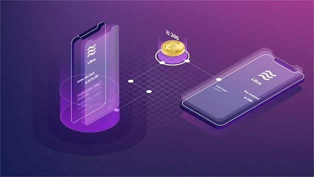Processo de pagamento de moeda digital weblibra no smartphone