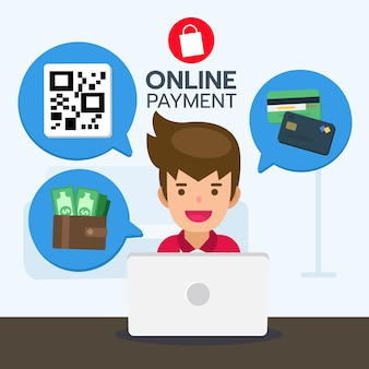 Processo de pagamento do serviço de compras on-line para o produto de compra.
