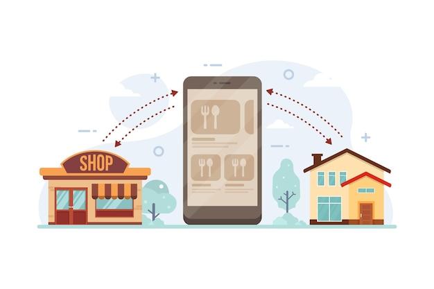 Processo de pedido de comida online a partir do conceito de design de smartphone